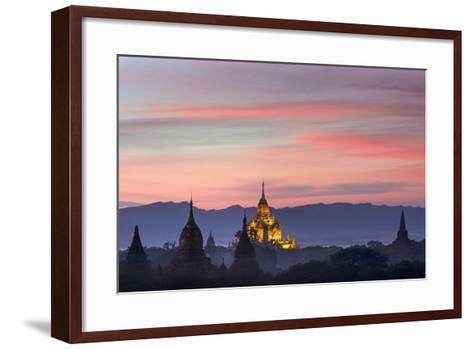 Sunset over Bagan-Jon Hicks-Framed Art Print