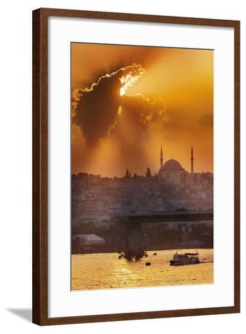 Sunset over the Bosphorus Strait.-Jon Hicks-Framed Art Print