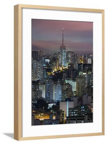 Sao Paulo Skyline at Night, Brazil.-Jon Hicks-Framed Art Print