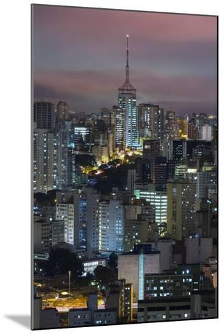 Sao Paulo Skyline at Night, Brazil.-Jon Hicks-Mounted Photographic Print
