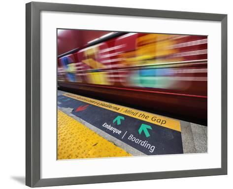 Mind the Gap Sign in a Metro Rio Station.-Jon Hicks-Framed Art Print