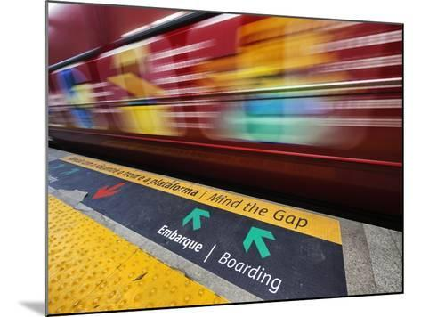 Mind the Gap Sign in a Metro Rio Station.-Jon Hicks-Mounted Photographic Print