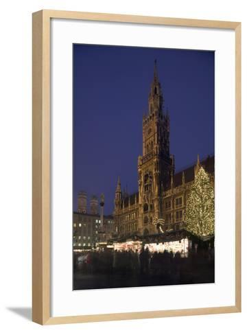 Christmas Tree in Marienplatz in Munich-Jon Hicks-Framed Art Print