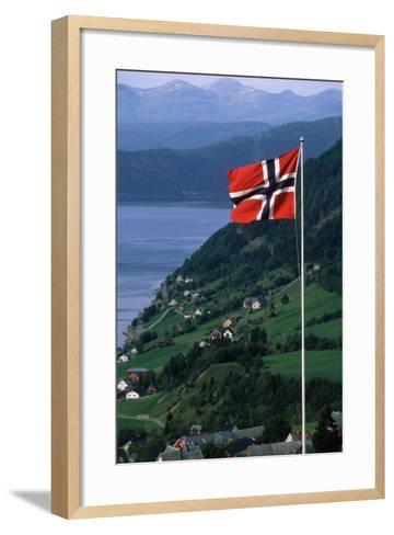 Norwegian Flag Flies above Valley-Paul Souders-Framed Art Print