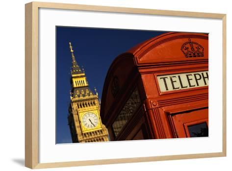 Big Ben and Telephone Booth-Jon Hicks-Framed Art Print