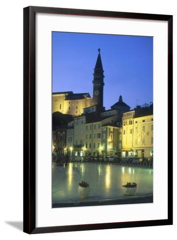 Tartinijev Square in Piran at Night-Jon Hicks-Framed Art Print