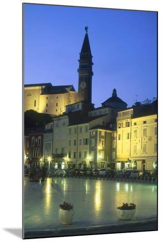 Tartinijev Square in Piran at Night-Jon Hicks-Mounted Photographic Print