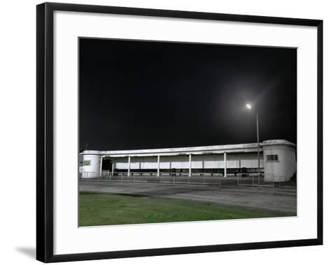 Bus Station at Night-Robert Brook-Framed Art Print
