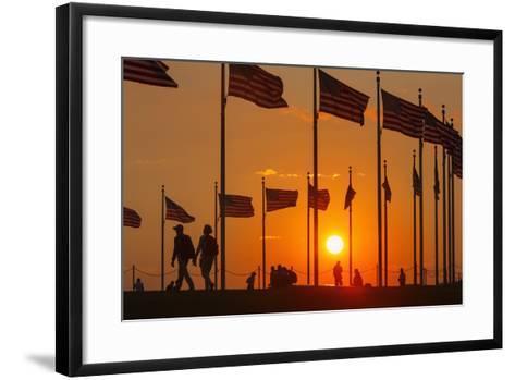 Washington DC Sunset.-Jon Hicks-Framed Art Print