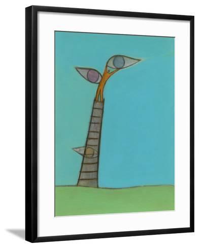 Illustration of Man Holding Eyes on Ladder Top-Marie Bertrand-Framed Art Print