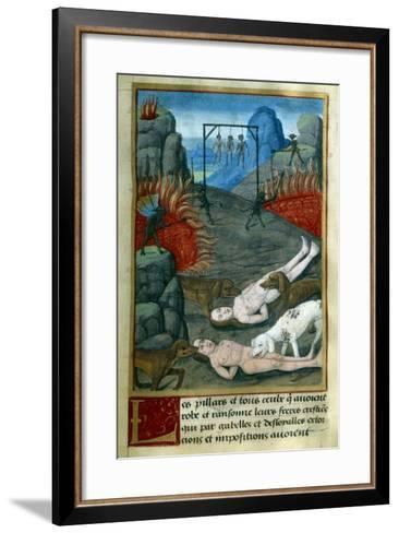 Punishment for Thieves and Looters in Hell, by Jean Gerson--Framed Art Print