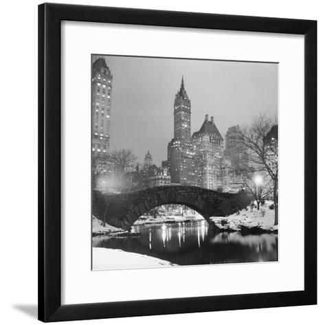 Footbridge in Snowy Central Park--Framed Art Print