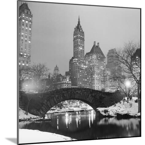 Footbridge in Snowy Central Park--Mounted Photographic Print