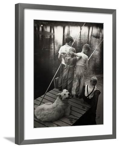 Dogs Supervising Fishing Boys--Framed Art Print