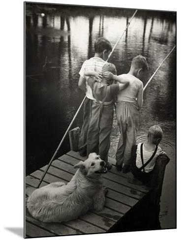 Dogs Supervising Fishing Boys--Mounted Photographic Print