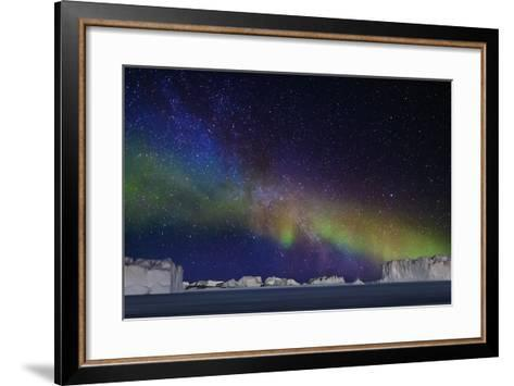 Aurora Borealis or Northern Lights over Icebergs-Arctic-Images-Framed Art Print