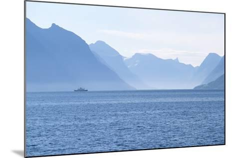 Ship and Mountains along the Austefjord, Norway-Paul Souders-Mounted Photographic Print