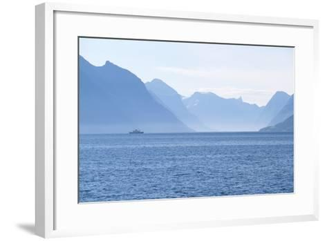 Ship and Mountains along the Austefjord, Norway-Paul Souders-Framed Art Print