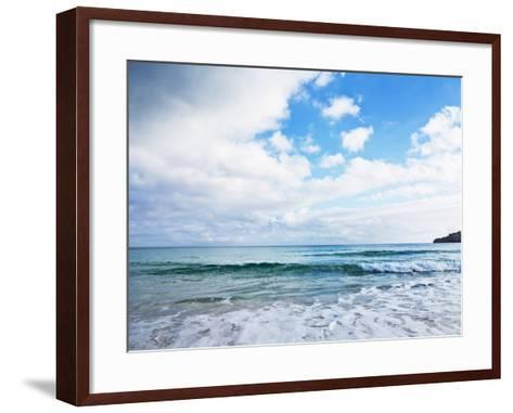 Cloudy Sky over Sea with Some Waves-Norbert Schaefer-Framed Art Print