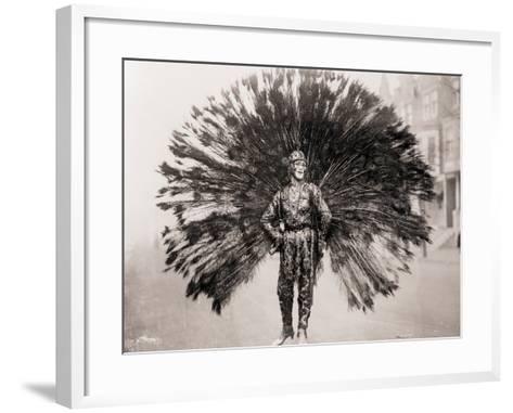 Man in Peacock Costume--Framed Art Print