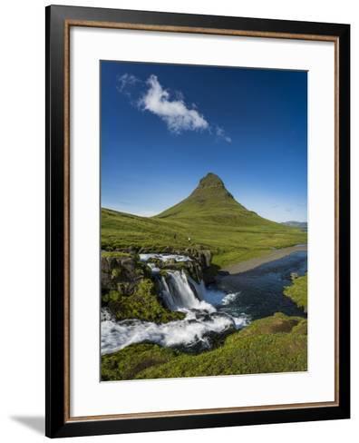 Kirkjufellsfoss Waterfalls and Mt Kirkjufell, Grundarfjordur on Snaefellsnes Peninsula, Iceland-Arctic-Images-Framed Art Print