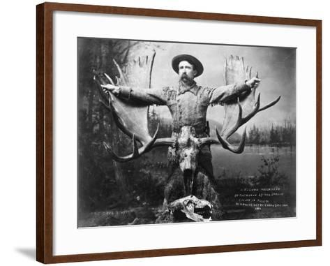 Hunter with Record Moose Antlers--Framed Art Print
