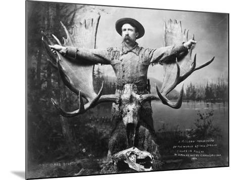 Hunter with Record Moose Antlers--Mounted Photographic Print
