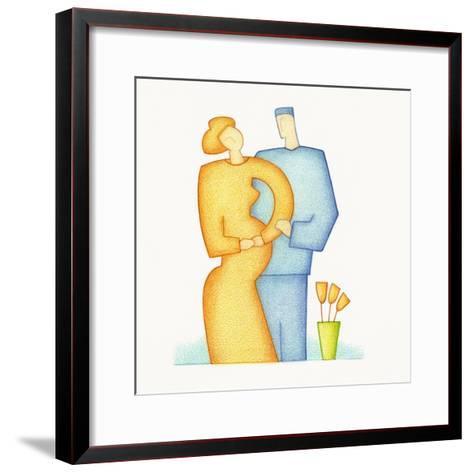 Prenant Woman Standing near a Man-Marie Bertrand-Framed Art Print