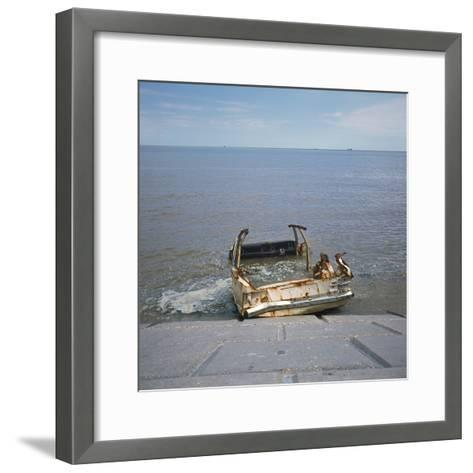 Car Wreck in Sea-Robert Brook-Framed Art Print