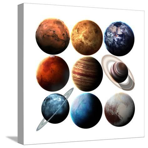 Hight Quality Isolated Solar System Planets. Elements of this Image Furnished by NASA-Vadimsadovski-Stretched Canvas Print
