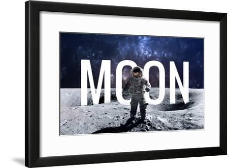 Brave Astronaut at the Spacewalk on the Moon. this Image Elements Furnished by Nasa.-Vadimsadovski-Framed Art Print