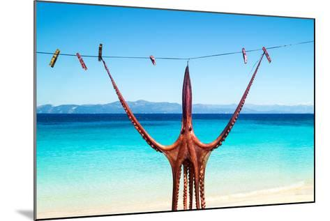 Octopus Hanging Up To Dry In The Sunshine In The Greek Islands-papadimitriou-Mounted Photographic Print