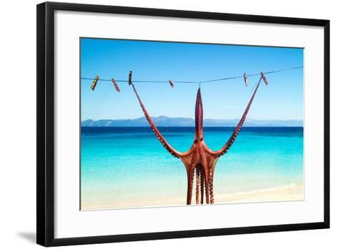 Octopus Hanging Up To Dry In The Sunshine In The Greek Islands-papadimitriou-Framed Art Print