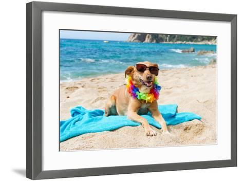 Relaxing Dog At The Beach With Flowers Garland-Ivonnewierink-Framed Art Print