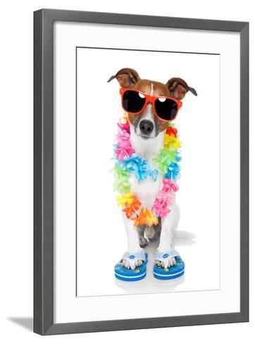 Tourist Dog With Hawaiian Lei And Shades-Javier Brosch-Framed Art Print