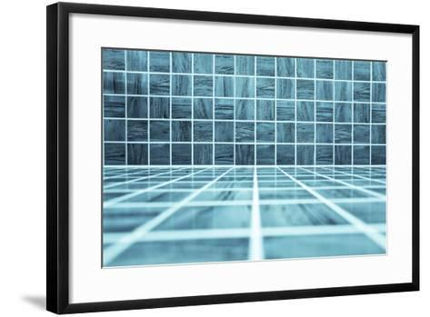 Blue Glossy Ornamental Stone Tiled Wall And Floor In Spacious Bath Room-Vladitto-Framed Art Print