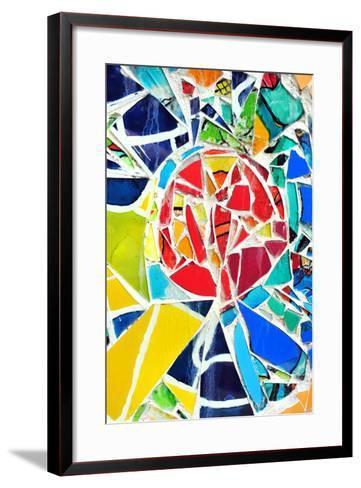 Mosaic Wall Decorative Ornament From Ceramic Broken Tile-tupikov-Framed Art Print
