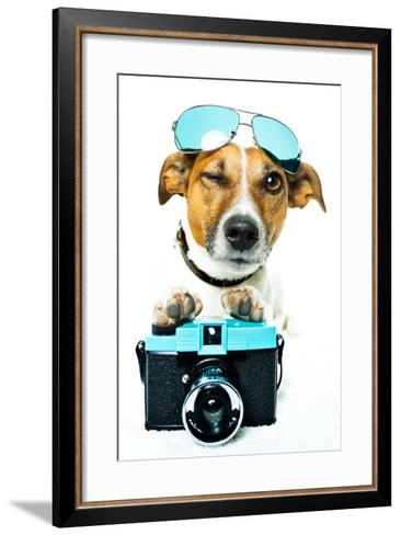 Dog Photo Camera-Javier Brosch-Framed Art Print