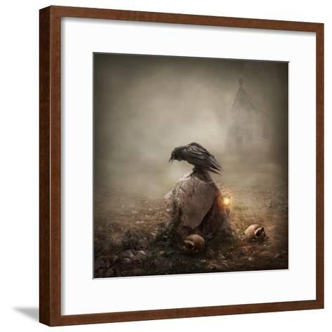 Crow Sitting on a Gravestone-egal-Framed Art Print