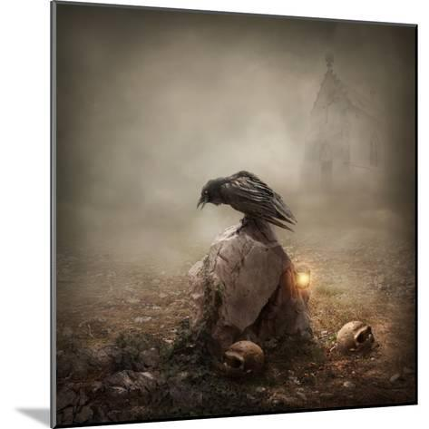 Crow Sitting on a Gravestone-egal-Mounted Photographic Print