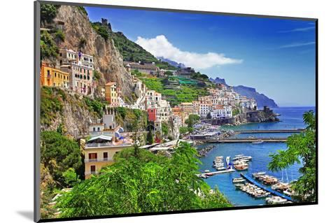 Travel In Italy Series - View Of Beautiful Amalfi-Maugli-l-Mounted Photographic Print