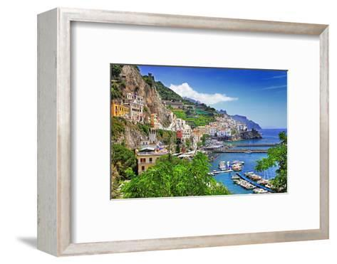 Travel In Italy Series - View Of Beautiful Amalfi-Maugli-l-Framed Art Print