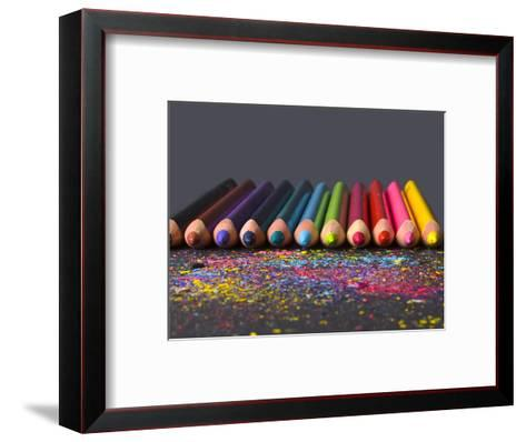 Pencils On Dark Background-vesnacvorovic-Framed Art Print