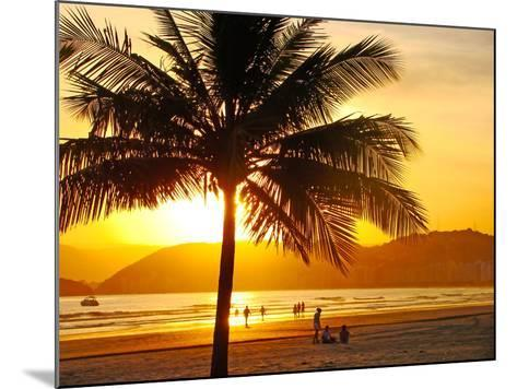 Beautiful Golden Sunset On The Beach Of The City Of Santos In Brazil-fabio fersa-Mounted Photographic Print