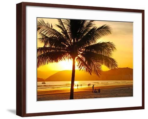 Beautiful Golden Sunset On The Beach Of The City Of Santos In Brazil-fabio fersa-Framed Art Print