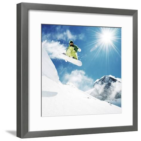 Snowboarder At Jump Inhigh Mountains At Sunny Day-dellm60-Framed Art Print