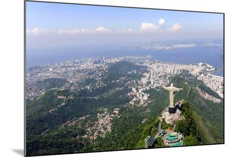 Aerial View Of Christ Redeemer And Corcovado Mountain In Rio De Janeiro-mangostock-Mounted Photographic Print