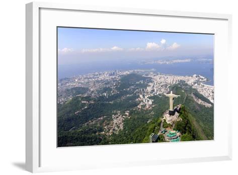 Aerial View Of Christ Redeemer And Corcovado Mountain In Rio De Janeiro-mangostock-Framed Art Print