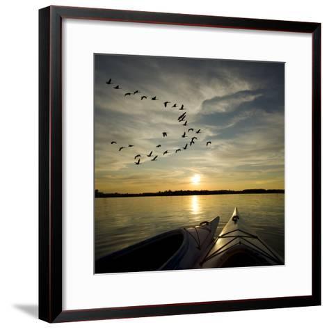 Kayaks On Lake Ontario Sunset-Gordo25-Framed Art Print