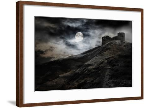 Night, Moon And Dark Fortress-fotosutra.com-Framed Art Print